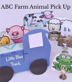 Little Blue Truck ABC Activity - Pick up the ABC farm animals in the Little Blue Truck. Literacy Bags, Preschool Literacy, Preschool Books, Preschool Themes, Literacy Skills, Preschool Alphabet, Farm Activities, Language Activities, Farm Animals Preschool