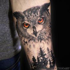 Latest Tattoo Design, Owl Tattoo Design, Tattoo Designs, Owl Forearm Tattoo, Mens Owl Tattoo, Body Art Tattoos, Sleeve Tattoos, Owl Tattoos, Realistic Owl Tattoo