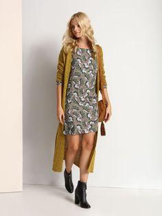 """Damska sukienka Top Secret z kolekcji jesień-zima 2016.<br><br>Kobieca sukienka o prostym kroju ukryje niedoskonałości figury. Materiał w kwiaty świetnie komponuje się z miękkimi dzianinami. Sukienka idealna na co dzień. Dostępna w jednej wersji kolorystycznej (SSU1707ZI).<br><br>Modelka ma 176 cm wzrostu i prezentuje rozmiar 34.<span style=\""""font-style:italic\""""> Top Secret, Shirt Dress, T Shirt, Sweaters, Dresses, Fashion, Moda, Shirtdress, Tee Shirt"""