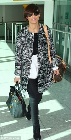 Keeping things simple: Frankie opted for a black and white ensemble