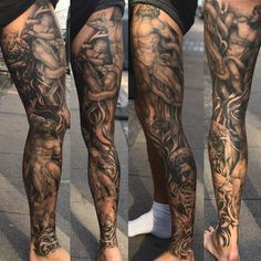 Me gusta, 48 comentarios – Ruben Jordan Langsted (Ru… – Tattoo Designs Tattoo Calf, Leg Sleeve Tattoo, Best Sleeve Tattoos, Tattoo Sleeve Designs, Forearm Tattoo Men, Body Art Tattoos, Tattoo On Leg, Mens Leg Tattoo, Religious Tattoo Sleeves
