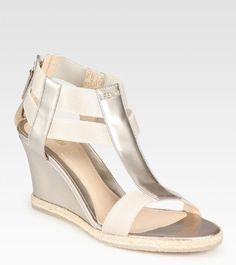 Fendi Carioca pearlized patent leather wedges
