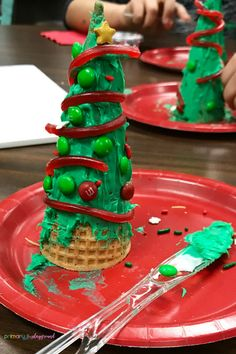 Making Christmas Tree Cones In The Classroom - Primary Playground - Holiday. - How To Make Christmas Tree Cones In The Classroom - How To Make Christmas Tree, Cone Christmas Trees, Christmas Treats, Holiday Fun, Christmas Holidays, Classroom Christmas Decor, Christmas Crafts For Kids To Make At School, Primary Christmas Gifts, Kid Made Christmas Gifts