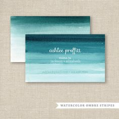 Business Card, Calling Card, Mommy Card - Ombre Watercolor Stripes via Etsy Corporate Design, Graphic Design Typography, Business Card Design, Branding Design, Corporate Identity, Brand Identity, Watercolor Business Cards, Watercolor Logo, Green Watercolor