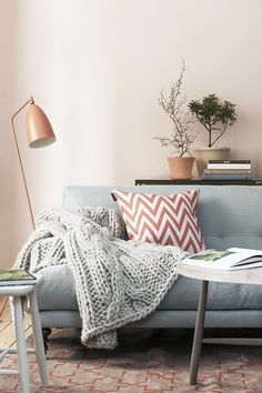Comfy, blush wall and chevron pillow, gets us everytime
