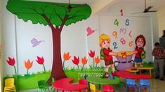 Create a bold room with our wall paintingfor play school works we have thousands of designs to make an impact. Latest designs at the best price available. 3d Wall Painting, Cartoon Painting, Texture Painting, School Painting, Crafts For Kids, Diy Crafts, School Decorations, Classroom Decor, Wall Design