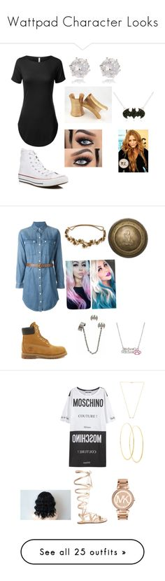 """""""Wattpad Character Looks"""" by queenprincessliarra ❤ liked on Polyvore featuring Converse, River Island, Michael Kors, Timberland, Jennifer Behr, Moschino, Gianvito Rossi, Lana, Wanderlust + Co and Victoria's Secret"""