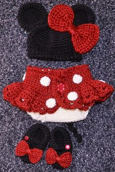 """This Minnie Mouse Outfit (Everything You See Here)Can Be Purchased Through """"Etsy"""" For About $55.00 + S Is The Link... http://www.etsy.com/listing/100663443/exclusive-hand-crochet-newborn-baby-girl?ref=sr_gallery_2_search_query=crochet+minnie+mouse+diaper+cover+outfit_view_type=gallery_ship_to=ZZ_min=0_max=0_includes%5B%5D=tags_search_type=all"""