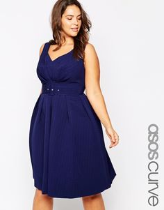 ASOS CURVE 50's Belted Prom Dress (Plus Size)