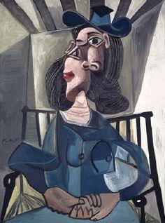 Pablo Picasso - Woman with a hat sitting in a chair (Dora Maar), 1941 Kunst Picasso, Art Picasso, Picasso Paintings, Portraits Cubistes, Cubist Portraits, Dora Maar, Art Visage, Cubist Movement, Art Moderne
