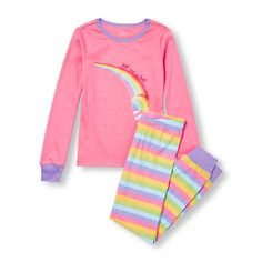 2248ec61 s Long Sleeve Rainbow Ice Cream Graphic Top And Rainbow Stripe Pants Pj Set  - Pink