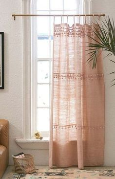 Shop Averi Pompom Gauze Window Curtain at Urban Outfitters today. We carry all the latest styles, colors and brands for you to choose from right here. Interior, Boho Curtains, Bamboo Beaded Curtains, Bedroom Boho, House Interior, Window Curtains, Small Window Curtains, Trendy Bedroom, Bedroom Windows