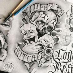 Card Tattoo Designs, Crown Tattoo Design, Tattoo Design Drawings, Tattoo Sketches, Chicanas Tattoo, Dark Art Tattoo, Tattoo Flash Art, Chicano Drawings, Dark Art Drawings