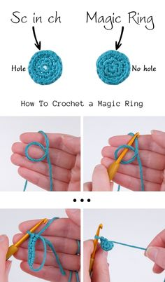 Crochet Magic Ring - Easy Tutorial Crochet Magic Ring - Easy Tutorial Learn the rudiments of how to Learn To Crochet, Diy Crochet, Crochet Crafts, Crochet Projects, How To Crochet For Beginners, Diy Crafts, Yarn Projects, Magic Circle Crochet, Magic Ring Crochet