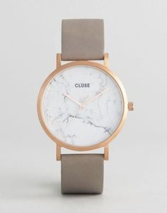 CLUSE La Roche Rose Gold White Marble & Gray Leather Watch CL40005