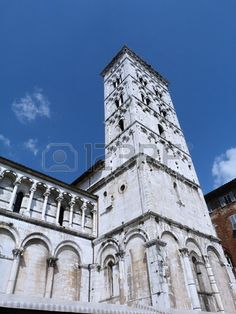 Bell tower of the church of San Michele in Foro, Lucca, Tuscany, Italy
