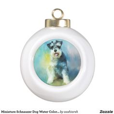 #MiniatureSchnauzer Dog Water Color Art #Painting Ceramic Ball #Christmas #Ornament