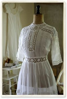 antique bobin lace dress