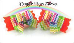 """Rainbow Chevron"" Tiny Ties Dog Bows by Doggie Bow Ties!"