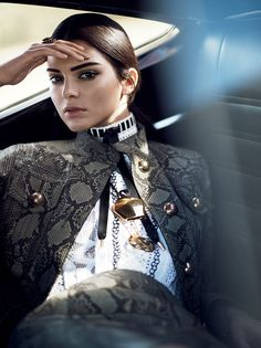 Kendall Jenner in Gucci python-and-leather jacket; Louis Vuitton crocheted dress for Vogue US January 2015 by David Sims