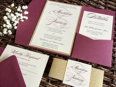 Marsala Wedding Invitations. All Invitations are 100% customizable to fit your dream wedding! Burgundy and marsala have been a huge hit recently, but this pocket comes is over 80 other colors!