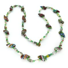 Vintage Art Deco Czech End Of Day Parrot Glass Bead Necklace | Clarice Jewellery