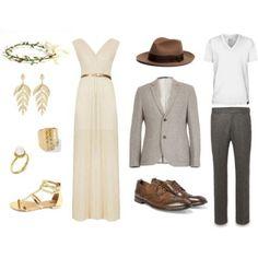 Accesorios!. Tú, vestido largo color claro; él, colores neutros más de otra tonalidad, gris.