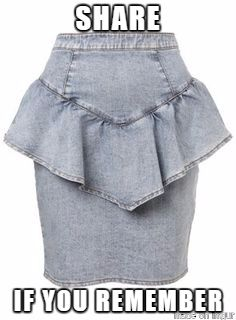 These denim skirts with the little peplum. I wanted one of these so bad My Childhood Memories, Great Memories, 90s Childhood, Costume Année 80, 1990 Style, 80s And 90s Fashion, Mode Vintage, Vintage Toys, Vintage Clothing