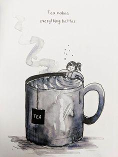 "Tiny person in a giant mug of tea. ""Tea makes everything better."" Tiny person in a giant mug of tea. ""Tea makes everything better. Chai, Vintage Tea, Tee Kunst, Tea Riffic, Tea And Books, Cuppa Tea, Tea Art, Coffee Quotes, Tea Time Quotes"