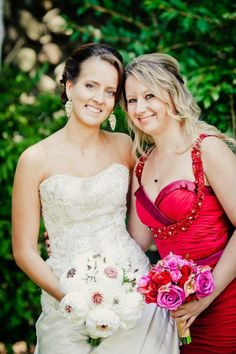 Modern fairy-tale wine & fuschia wedding. Bouquets by Sonia Denny Events