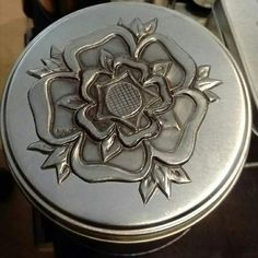 Pewter Tudor Rose tin made by Fiona from Fiona Roberts Design