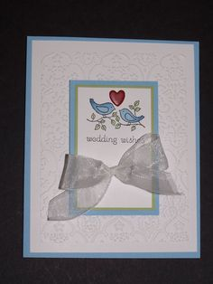 Wedding card - Stampin Up Easy Events stamp, colored with Copic markers (original idea from Barb Mann)