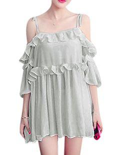 Lady Self Tie Straps 3/4 Sleeves Chiffon Mini Dresses Gray XS sourcingmap http://www.amazon.co.uk/dp/B010V9G0XK/ref=cm_sw_r_pi_dp_Y7ubxb08YEFPE