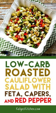 Low-Carb Roasted Cauliflower Salad with Feta, Capers, and Red Pepper – Blumenkohl Rezepte Tasty Cauliflower, Roasted Cauliflower Salad, Low Carb Side Dishes, Side Dish Recipes, Feta Salat, Summer Recipes, Rock Recipes, Free Recipes, Easy Recipes