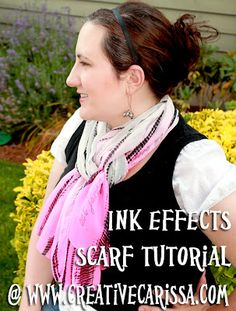 Ink Effects Printed Chiffon Scarf Tutorial ~ Creative Green Living- a great way to transfer words on to a scarf or fabric!