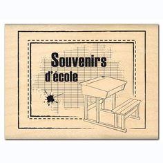 Tampon bois - Souvenirs D'école - 5,3 x 6,5 cm 8.35 € chez scrapamalin Scrapbooking Pas Cher, Etiquette Vintage, Borders And Frames, Tampons, Planner Stickers, Photoshop, Bullet Journal, Printables, Stamp
