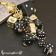 lucky   Dance of Dice Bling Bling Cell Phone Strap (Black)