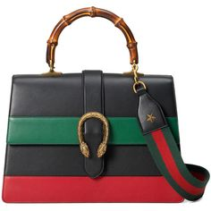 Gucci Dionysus Stripe Bag ($3,500) ❤ liked on Polyvore featuring bags, handbags, shoulder bags, gucci, kirna zabete, top handles, structured leather handbag, leather purse, leather shoulder strap handbags and striped purse