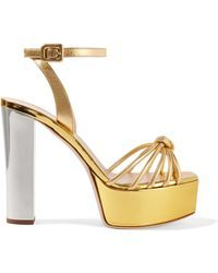 f85e07b7a Giuseppe Zanotti - Lavinia Metallic Leather Platform Sandals - Lyst ...