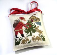 Christmas tree decor christmas pillow Santa by ReginaStitchery.  Design by The Prairie Schooler.