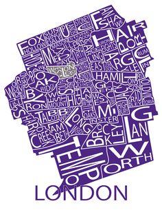 Typographic Map of London Ontario by FabulousFelties on Etsy, $15.00