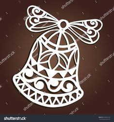 Laser cut paper christmas bell decoration vector design. Merry Christmas Greeting Card. Christmas bell for wood carving, paper cutting and christmas decorations.