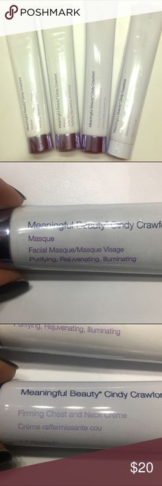 Meaningful beauty skin care products. Full sized. Meaningful Beauty facial masque (I have two of these), forming chest and neck creme, deep cleansing masque. Will separate for $5 each, just ask. Meaningful Beauty Makeup
