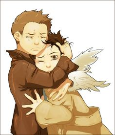 Dean and Castiel. Like I said, I've never seen Supernatural and don't know much about it. I love this fan art, though, so I had to pin it. It's just precious and emotional :)