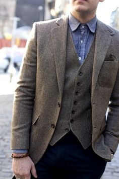 tweed jacket vest blue shirt