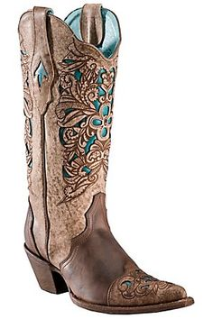Cowboy Boots I LOVE!!! Inlaid with Turquoise! So PERFECT to wear with Western Style Jewelry! I love them! Corral® Ladies Brown w/ Turquoise Inlayed Floral Tool Pointed Toe Western Boots #Boots #Love
