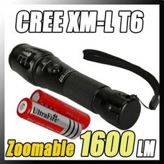 1600 LM CREE XM-L T6 5 Modes Zoomable LED Flashlight Torch 18650