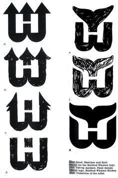 Peter Good's Hartford Whalers logo sketches - the evolution of the design Typography Logo, Graphic Design Typography, Logo Branding, Lettering, Hockey Logos, Sports Logos, Logo Sketches, Thumbnail Design, Great Logos