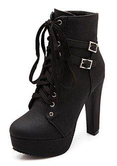 Oferta: 21.93€. Comprar Ofertas de Minetom Mujer Moda Otoño Invierno Puntera Redonda Estiletes Cremallera Lace-Up Tobillo Botas Color Sólido Zapatos de Tacon Ne barato. ¡Mira las ofertas!