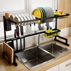 tinyhousecourses Love this over the sink dish rack! Great space saver for tiny homes. ___________________________________________⁣⁣⁣⁣⁣⁣ tinyhousecourses Love this over the sink dish rack! Great space saver for tiny homes. Kitchen Organization, Kitchen Storage, Kitchen Decor, Storage Area, Kitchen Ideas, Organization Ideas, Kitchen Supplies, Kitchen Drying Rack, Kitchen Dining